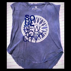 SOULCYCLE New York Sleeveless Blue Soft Tee Shirt